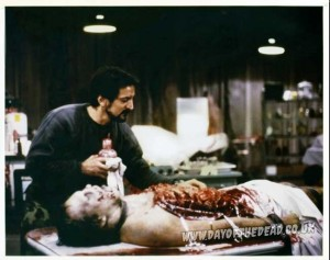 Behind the scenes photo Tom Savini Michael Trcic autopsy zombie