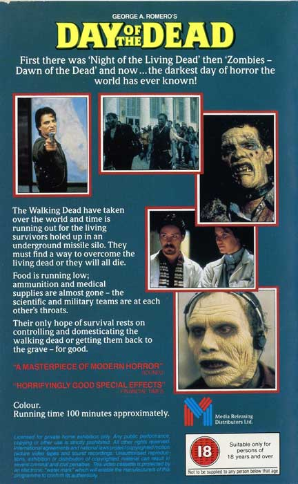 DAY OF THE DEAD UK ENTERTAINMENT IN VIDEO VHS BACK