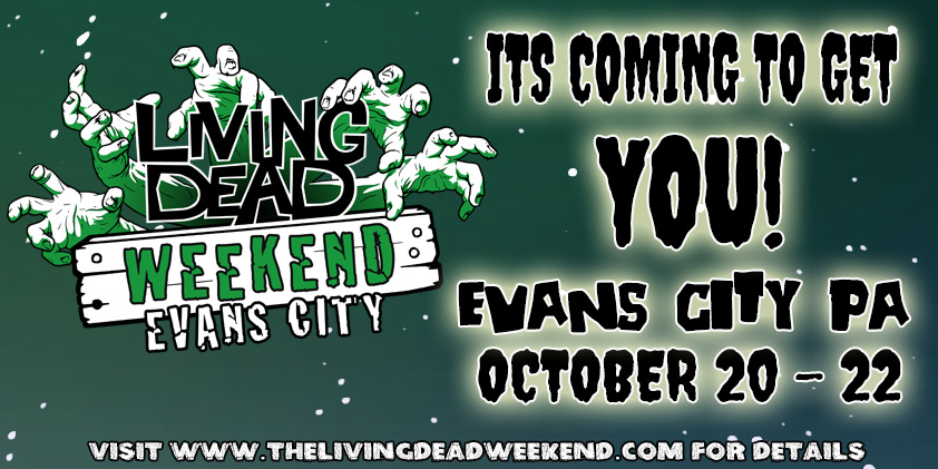 The Living Dead Weekend is a real weekend of the dead, with over 20 gueats from George Romero's Zombie movies Night of the Living Dead Dawn of the Dead Day of the Dead and Land of the dead, in evans City the home of Night of the Living Dead and coming 2018 the living dead weekend monroeville for the dawn of the dead 40th anniversary and again in evans city for the night of the living dead 50th anniversary. Stay Scared!