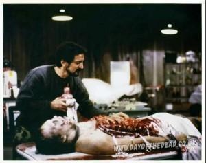 Behind the scenes photo Tom Savini Michael Trcic autopsy zombie