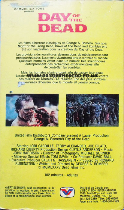 Day of the Dead Canada VHS back